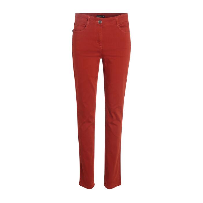 Pantalon taille standard zip poches rouge femme