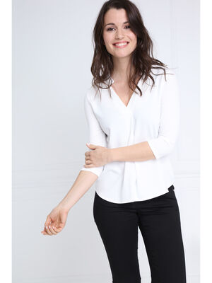 T shirt manches 34 col V ecru femme