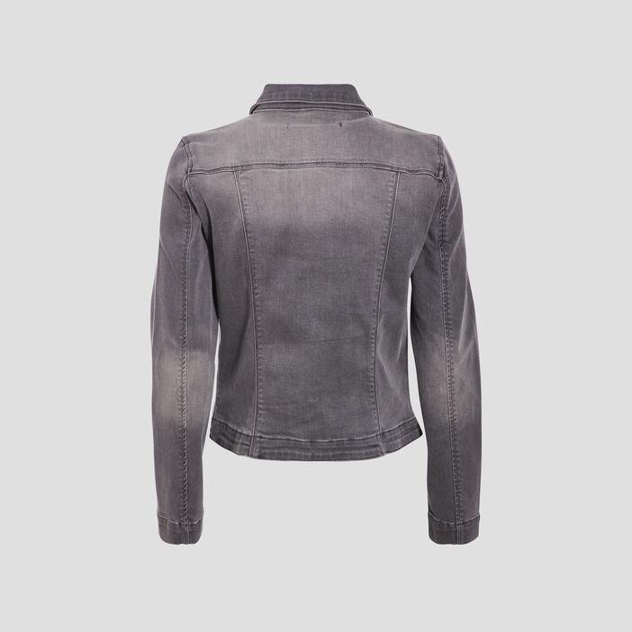 Veste droite boutonnée en jean denim gris femme
