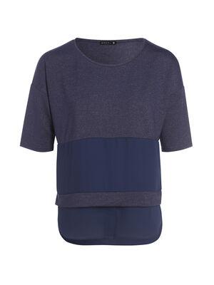 Tee shirt manches coudes bimatiere bleu fonce femme