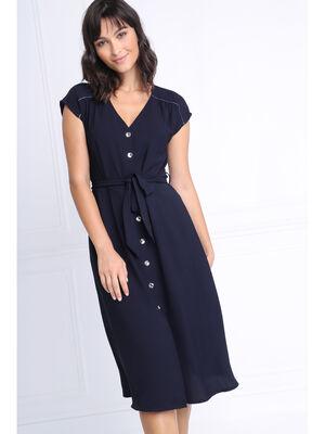 Robe cintree col V bleu marine femme