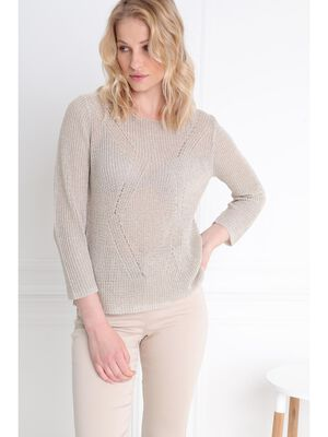 Pull manches 34 col rond sable femme