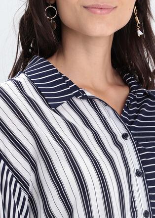 Chemise manches 34 bleu marine femme