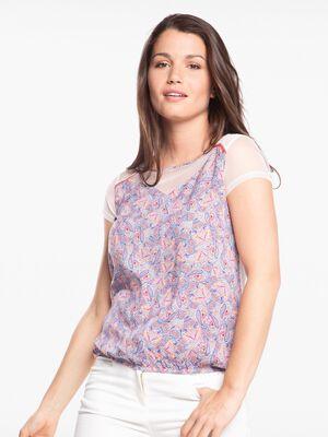 T shirt col rond imprime cachemire rose pastel femme