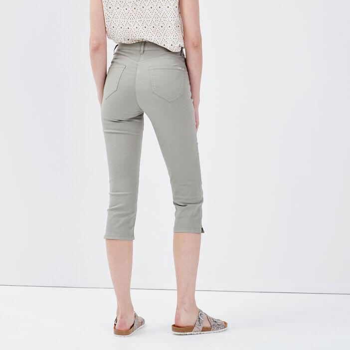 Pantacourt droit taille standard vert clair femme