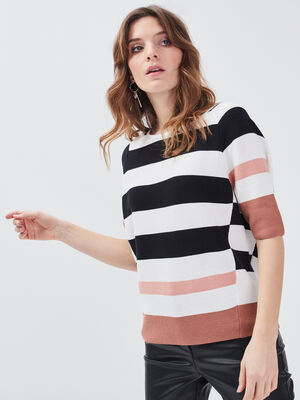 Pull manches 34 ruban noue rose femme