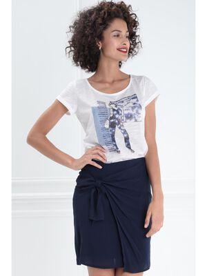 T shirt manches courtes clous ecru femme
