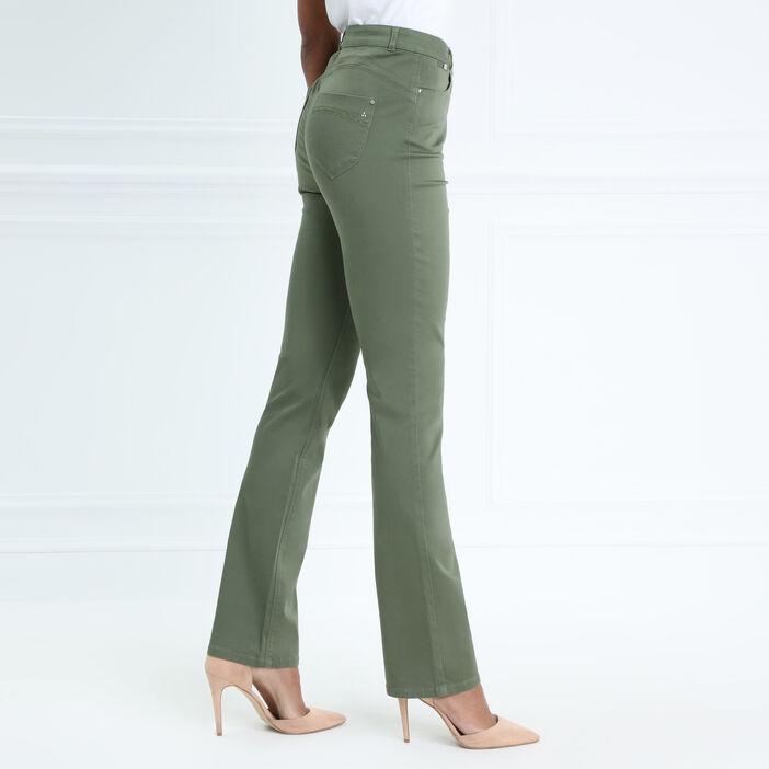 Pantalon droit taille haute vert kaki femme