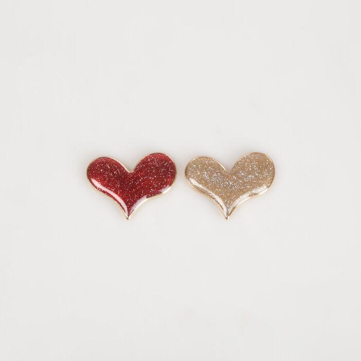 Broches cœurs pailletés rouge femme