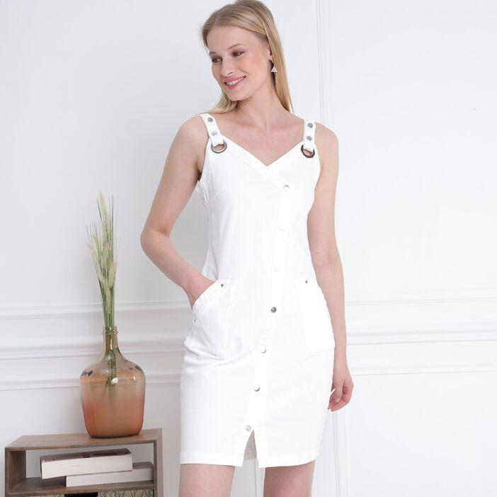 Robe ajustée à bretelles blanc femme