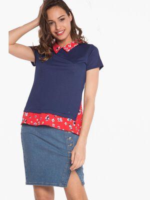 T shirt avec detail imprime bleu femme