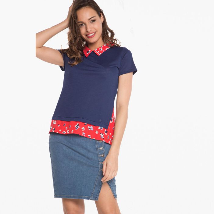 T-shirt avec détail imprimé bleu femme