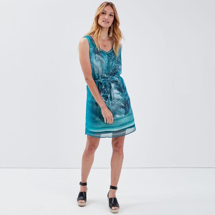 Robe droite ceinturée vert turquoise femme
