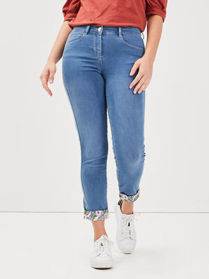 Jeans ajuste taille basculee denim double stone femme