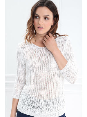 Pull manches 34 ajoure irise blanc femme
