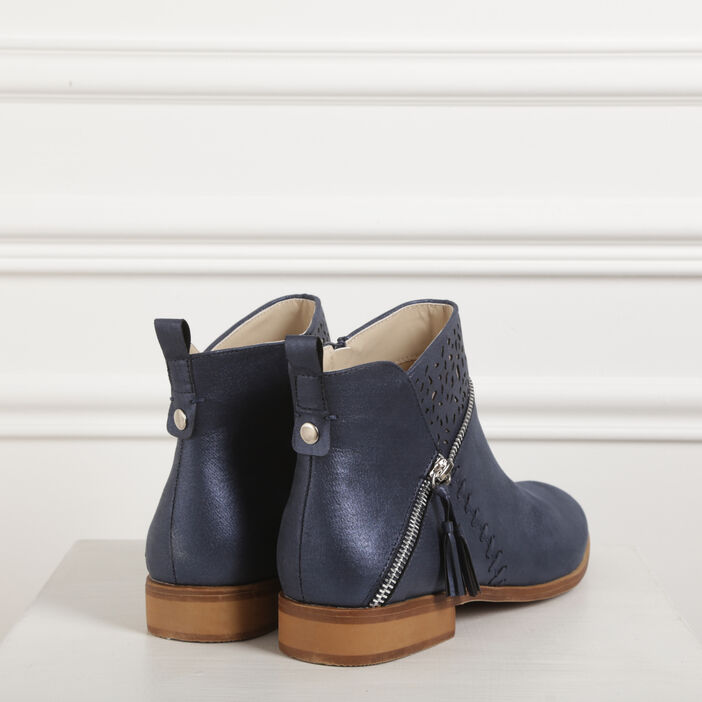 Bottines plates détail zip bleu femme