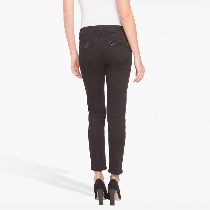 Pantalon ajusté à strass noir femme