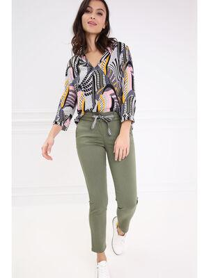 Pantalon avec lien brillant vert kaki femme
