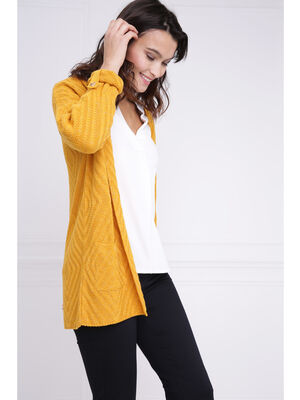 Gilet long sans fermeture jaune or femme