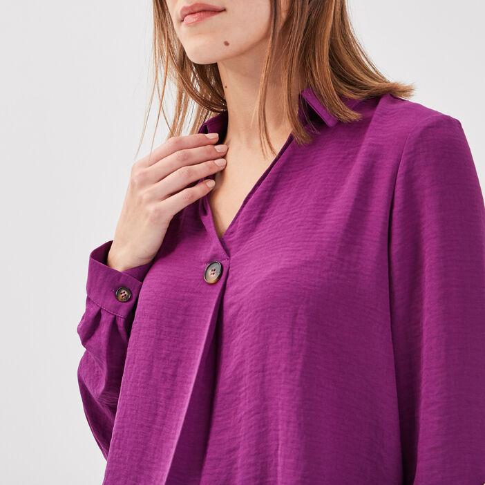 Blouse manches 3/4 boutonnées violet femme