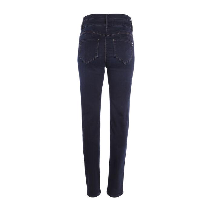 Jeans push-up zips décoratifs denim brut femme