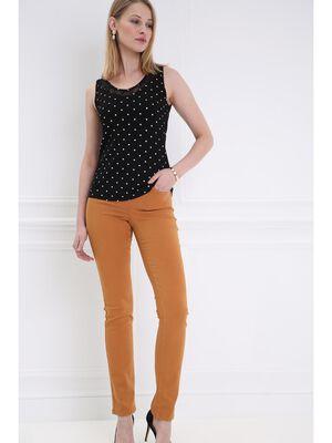 cbb5ead6af2 Pantalon ajuste taille haute camel femme