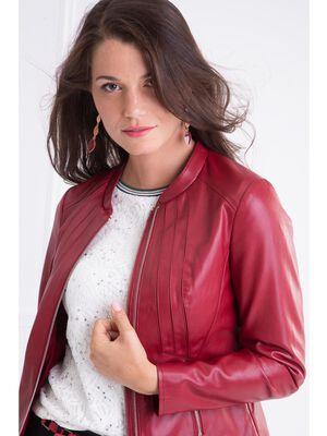 Veste ajustee facon cuir coutures rouge femme