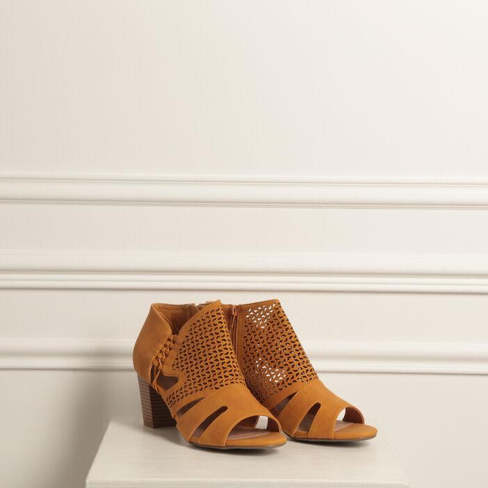 Sandales ajourées talon carré jaune or femme