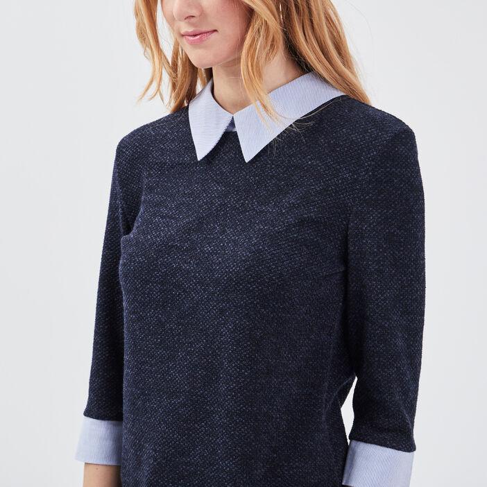 T-shirt manches 3/4 bleu marine femme