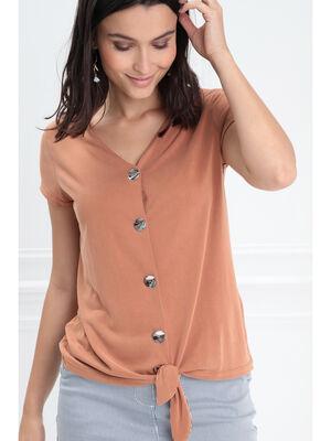 T shirt manches courtes noue orange fonce femme