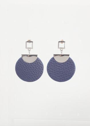 Boucles doreilles rondes metal bleu fonce femme