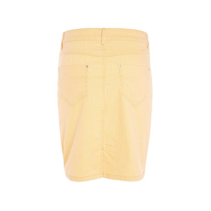 Jupe droite rayée jaune or femme