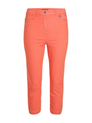 Pantacourt en toile orange corail femme