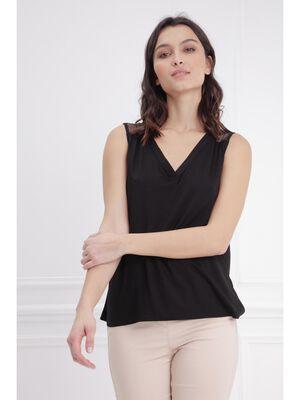T shirt sans manche resille dos noir femme