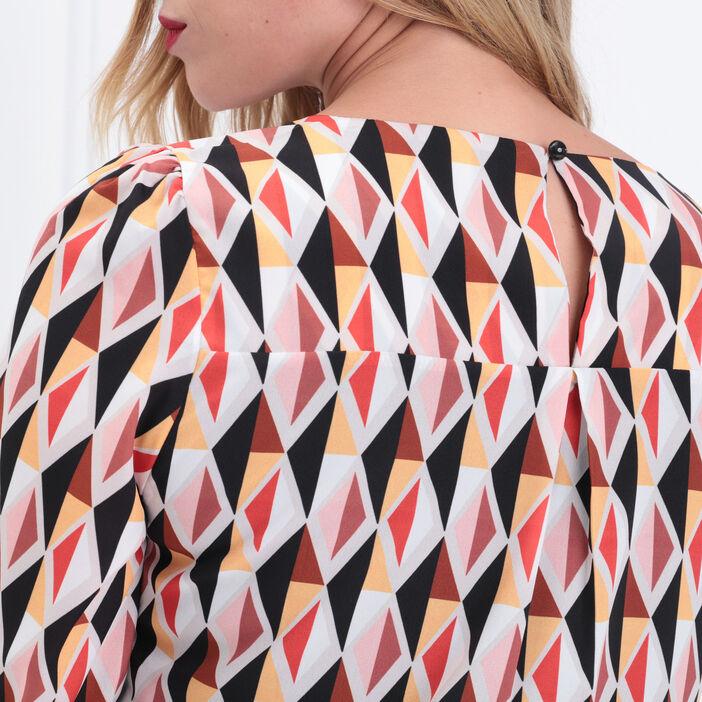 Robe droite manches 3/4 multicolore femme