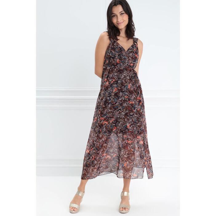 Robe longue portefeuille rouge corail femme