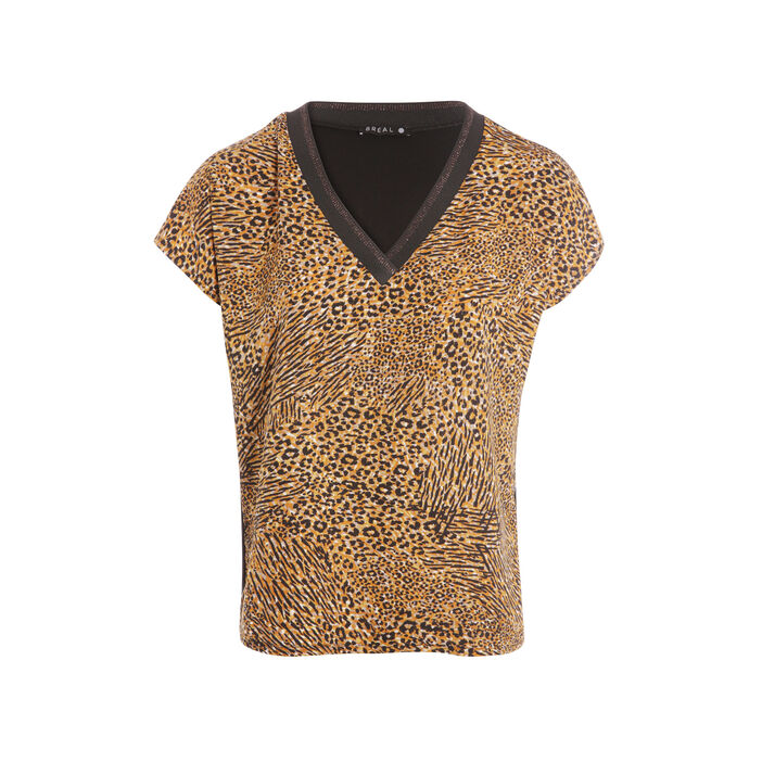 T-shirt manches courtes col V camel femme