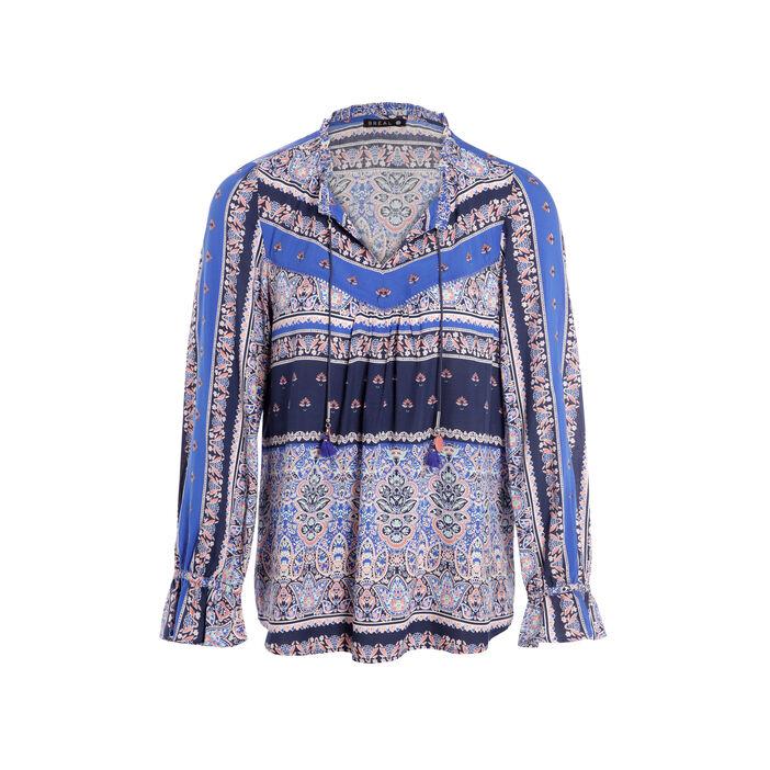 Chemise col tunisien motif végétal bleu foncé femme