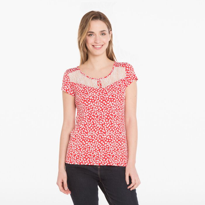 T-shirt avec dentelle rouge foncé femme