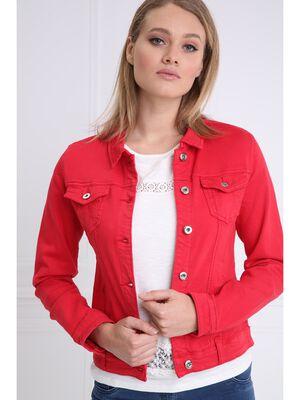 Veste en jean rouge femme
