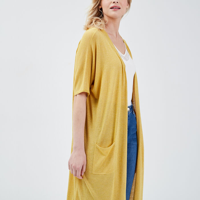 Gilet manches courtes jaune moutarde femme