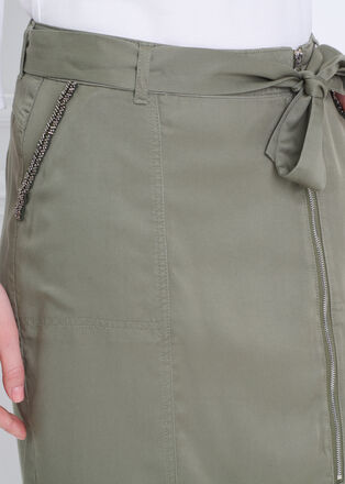 Jupe droite midi zippee vert kaki femme