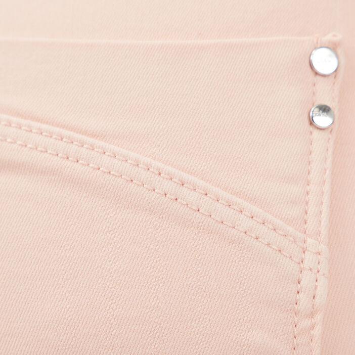Pantacourt taille haute rose poudrée femme