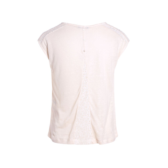 T-shirt manches courtes creme femme