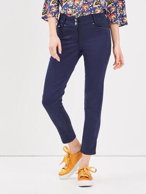 Pantalon ajuste details clous bleu marine femme