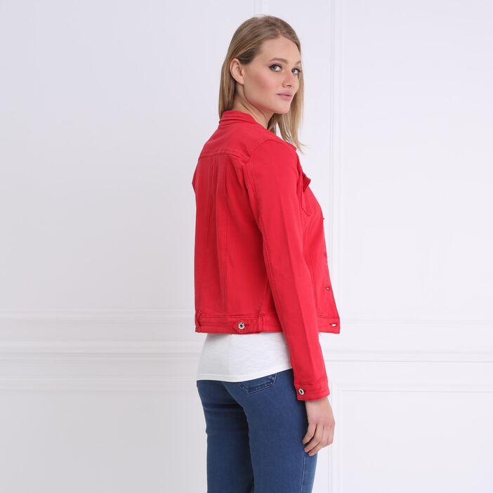 Veste ajustée courte boutonnée rouge femme