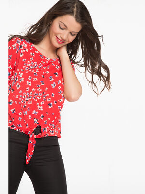 T shirt imprime fleuri pop rouge corail femme