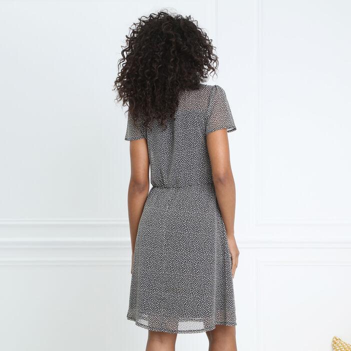 Robe cintrée voile transparent noir femme
