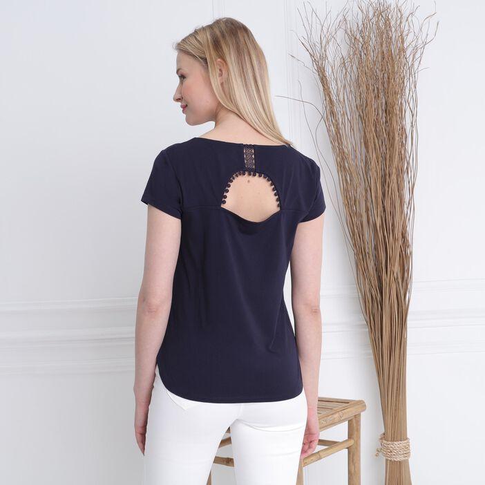 T-shirt manches courtes clous bleu foncé femme