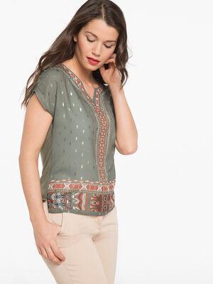 T shirt ethnique avec details brillants vert fonce femme